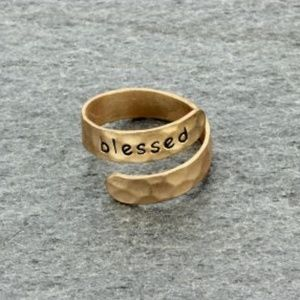 """Blessed"" Brass Cuff Ring"